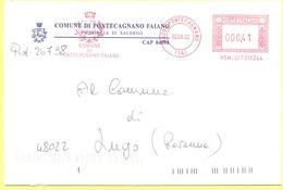 ITALIA - ITALY - ITALIE - 2002 - 00,41 EMA, Red Cancel - Comune Di Pontecagnano Faiano - Viaggiata Da Pontecannano Per L - Affrancature Meccaniche Rosse (EMA)