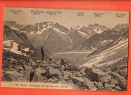 VAT-25 Hérens, Arolla Panorama Pris Du Pas De Chèvres, ANIME. Tsa,Cervin,Bouquetin.Cachet Haudères 1922 Jullien 7098 - VS Valais