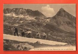 VAT-28 Hérens, Arolla  Chemin Du Pas De Chèvres Cordée De Touristes Tirée Par Guide Sur Névé.Circulé 1920 Jullien 7121 - VS Wallis