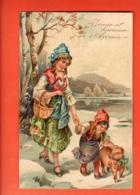 VAT-43 Bonne Année, Maman Et Sa Fille Promenant Un Cochon, Schwein. Geprägt, Gaufré. Circulé 1908 - Año Nuevo