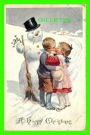 FÊTE DE NOEL - JEUNE ENFANTS S'EMBRASSE - A HAPPY CHRISTMAS - TRAVEL - C. W. FAULKNER & CO - - Noël