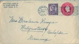 1926 ESTADOS UNIDOS , SOBRE ENTERO POSTAL CIRCULADO , NEW YORK - EICHSFELD , FR. COMPLEMENTARIO - 1921-40