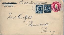 """1926 ESTADOS UNIDOS , SOBRE ENTERO POSTAL CIRCULADO , NEW YORK , VIA """" S.S. PRESIDENT ROOSEVELT """" , FR. COMPLEMENTARIO - 1921-40"""