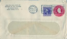 1922 ESTADOS UNIDOS , SOBRE ENTERO POSTAL CIRCULADO , NEW YORK  , FR. COMPLEMENTARIO - 1921-40