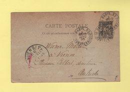 Paris 52 - Bd Montparnasse - 10 Janv 1895 - Entier Type Sage Destination Autriche - Postmark Collection (Covers)
