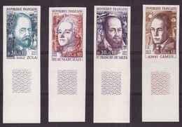 France 1967 N°1511a 1514a Non Dentelé Neuf Luxe ** Cote 115€ Celebrites Emile Zola Albert Camus Beaumarchais - France