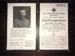 Sterbebild Wk1 Ww1 Bidprentje Avis Décès Deathcard IR21 ARRAS Verschüttung Aus Haslau - 1914-18
