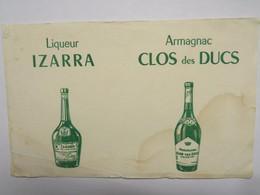 Buvard : Liqueur IZARRA, Armagnac CLOS Des DUCS - Liqueur & Bière