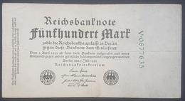 EBN12 - Germany 1922 Banknote 500 Mark Pick 74b Green 7 Digit Serial - [ 3] 1918-1933: Weimarrepubliek