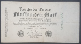EBN12 - Germany 1922 Banknote 500 Mark Pick 74b Green 7 Digit Serial - 500 Mark