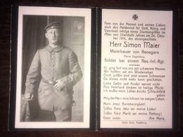 Sterbebild Wk1 Ww1 Bidprentje Avis Décès Deathcard RIR18 26. Oktober 1916 Aus Renegarn - 1914-18