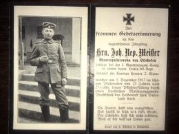 Sterbebild Wk1 Ww1 Bidprentje Avis Décès Deathcard Ersatz IR3 MGK 1. Dezember 1917 Aus Vilshofen - 1914-18
