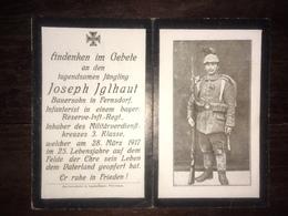 Sterbebild Wk1 Ww1 Bidprentje Avis Décès Deathcard RIR12 Aus Fernsdorf 28. März 1917 - 1914-18