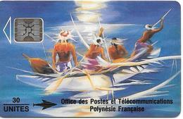 CARTE°-PUCE-POLYNESIE-PF12A A-30U-2/93-SC5-SOLEIL LEVANT-R°GLACE-/V°Bleu-LOT N°00232--VIDE--TBE - French Polynesia