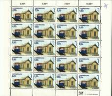 Luxembourg Feuille De 20 Timbres à 0,50 Euro Chemins De Fer D'Antan Waggon C3f  Nr 357-CVE Gare De Niederpallen 2005 - Full Sheets