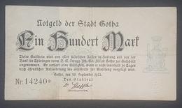 EBN12 - GERMANY 1922 GOTHA STADT 100 MARK BANKNOTE - [ 3] 1918-1933 : Weimar Republic