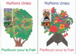 UNO GENF 299-300, 2 Private Maximumkarten, Friedensappell 1996 - Maximumkarten