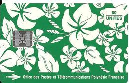 CARTE°-PUCE-POLYNESIE-PF18-60U-SC5-S/Entourage-PAREO VERT Mat-5 Ge 00482-TBE- - Polynésie Française