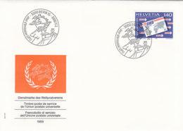 SCHWEIZ Dienst  UPU  15, FDC, Tätigkeitsbereiche Des Weltpostvereins,1989 - Service