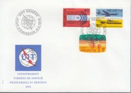 SCHWEIZ Dienst  UIT/ITU  11-13, FDC, Tätigkeitsbereiche Der Internationalen Fernmeldeunion, 1976 - Dienstpost