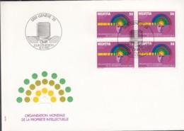 SCHWEIZ Dienst  OMPI/WIPO  5, 4erBlock, FDC, Tätigkeitsbereiche Der Weltorganisation Für Geistiges Eigentum, 1985 - Dienstpost