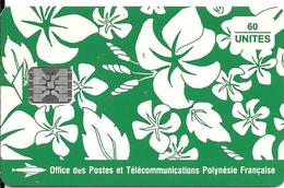 CARTE°-PUCE-POLYNESIE-PF18-60U-SC5-S/Entourage-PAREO VERT Mat-5 Ge 00480-0 Envers Apres 8-TBE- - Polynésie Française
