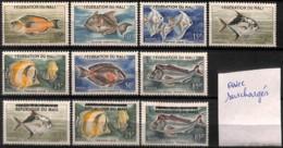 [828005]Mali 1960-61 - PA2/8+10/12, Avec Surchargés, Poissons, Poste Aérienne, Sc - Mali (1959-...)