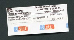 """Ticket Neuf ! Train / Métro / Bus / Tramway """"Ticket Imagine R Scolaire"""" RATP / SNCF - Ile-de-France - Abonnements Hebdomadaires & Mensuels"""