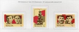 Malta - 1985 - 66° Anniversario Della Rivolta Del 1919 - 3 Valori - Nuovi - Vedi Foto - (FDC14113) - Malta