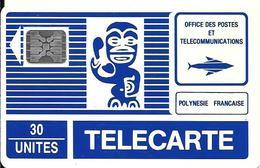 CARTE°-PUCE-POLYNESIE-30U-PF3B -SC5-An-Trou 6-TIKI BLEU-3é Série-V° Blanc-5 Pe 15560-GD LOGO SCHLUM-TBE- - French Polynesia