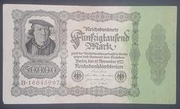 EBN12 - Germany 1922 Banknote 50,000 Mark Pick 79 Without Underprint - [ 3] 1918-1933: Weimarrepubliek