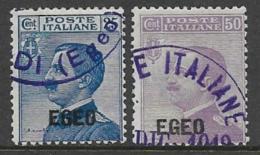 Italy Aegean Islands General Issue Scott # 1-2 Used Italy Stamp Overprinted, 1912, CV$70.00 - Aegean (Autonomous Adm.)