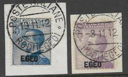 Italy Aegean Islands General Issue Scott # 1-2 Used On Piece Italy Stamps Overprinted, 1912, CV$70.00 - Aegean (Autonomous Adm.)