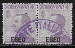Italy Aegean Islands General Issue Scott #2 Used Pair Italy Stamps Overprinted, 1912, CV$70.00 - Aegean (Autonomous Adm.)