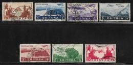 Eritrea Scott # C10-6 Used Part Set Airmails Various Designs, 1936, CV$67.85. #C14 Has A Small Thin, CV$27.50 - Eritrea