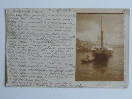 Jolie Carte Faite Par L'expeditrice  Au Bureau écrit Dans La Correspondance  Bateau Reliant Le Havre à Trouville 1903 - Port