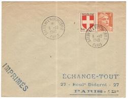 FRANCIA - France - 1949 - 1F Savoie + 4F Marianne De Gandon + Special Cancel Salon De L'Automobile - Imprimés - Viaggiat - Francia