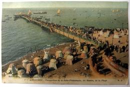 Arcachon - Perspective De La Jetée-Promenade, Du Bassin, De La Plage - Arcachon