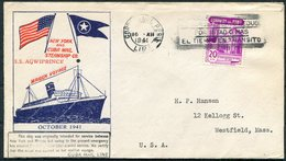 1941 Peru S.S. AGWIPRINCE Ship Cover. New York - Cuba Mail Steamship Maiden Voyage - Peru
