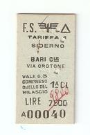 BIGL--00048-- BIGLIETTO FERROVIE DELLO STATO-TARIFFA 1 - SIDERNO-BARI CENTR. VIA CROTONE 20-5-1974 - Treni