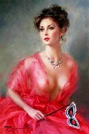 ART GIR IN RED MASCK - Paintings
