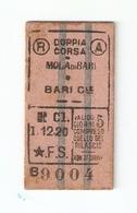 BIGL--00052-- BIGLIETTO FERROVIE DELLO STATO-3 CLASSE-DOPPIA CORSA BARI CENTR.  MOLA DI BARI - Treni