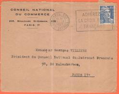 FRANCIA - France - 1947 - 4,50F Marianne De Gandon + Flamme Adhérez à La Croix Rouge Française - Conseil National Du Com - Francia