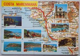 COSTA MAREMMANA (GROSSETO) - Mappa Mapa Map - Follonica Punta Ala Talamone Castiglione Pescaia Cinghiali   Vg  T2 - Grosseto