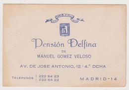 1286/ PENSIÓN DELFINA, Madrid. Tarjeta / Carte / Card (1970s). Hotels. Hoteles. Alberghi. - Otras Colecciones