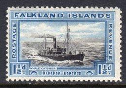 FALKLAND ISLANDS - 1933 1 1/2d BLACK & BLUE SHIP STAMP FINE MINT MM * SG129 - Falkland Islands