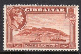 GIBRALTAR - 1942 1d WMK SIDEWAYS PERF 13 RED-BROWN SHIP STAMP FINE MINT LMM * SG122b - Gibraltar