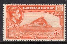 GIBRALTAR - 1947 5d RED-ORANGE SHIP STAMP FINE MINT MM * SG125c - Gibraltar