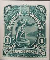 O) 1892 HONDURAS, PROOF, DISCOVERY OF AMERICA BY CHRISTOPHER COLUMBUS 1 Peso Green - COLUMBUS SIGHTING HONDURAN COAST, X - Honduras