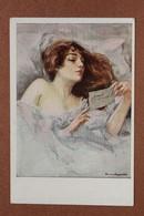 "Antique Artist Postcard 1910s ""Schöne Frauen"" Beautiful Woman In Bed. Love Letter.  Frau Im Bett, Brief Lesend - Illustratori & Fotografie"